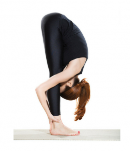 women showing how half fold pose should be done