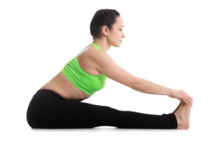 women showing how to pose touching your toes