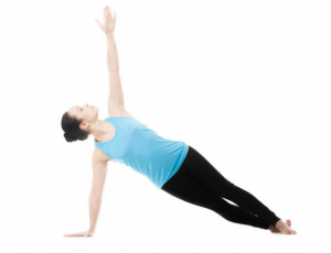 demonstration of women holding one arm pose to help with yoga poses for core strength