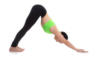 women in downward dog pose with arms strait and legs strait on flood